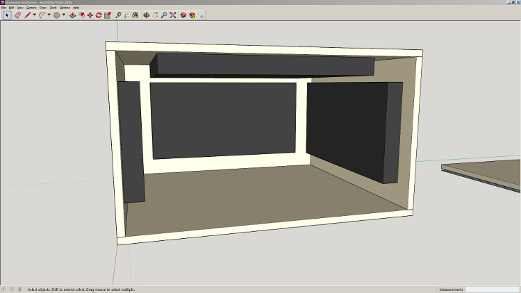 A model of the enclosure in Sketchup